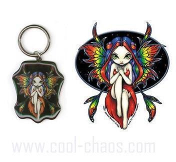 Gothic Fairies Sticker Keychain Gift Set