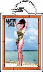 Retro Leopard Swim Suit Bettie Page Keychain