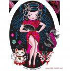 Flirty Geisha Girl Pin-up Sticker / Koi+maneki-neko