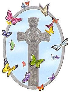 Butterfly Celtic Cross Sticker
