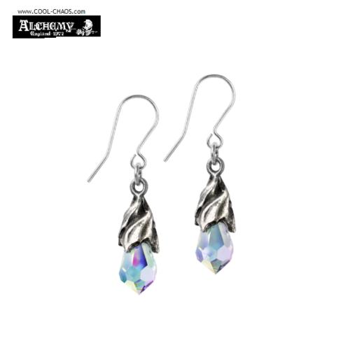 Tears from Heaven Pewter Earrings / Aurora Crystal Drop Earrings