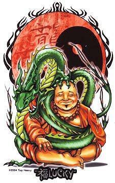 Tribal Dragon Lucky Buddha Sticker