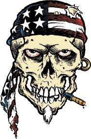 American Biker Skull Sticker