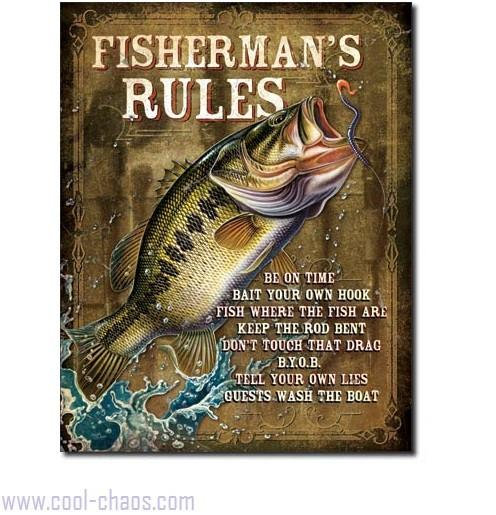 Fisherman's Rules Fishing Sign