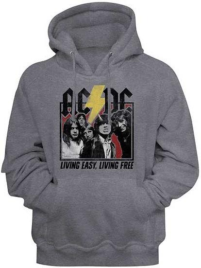 AC/DC Hoodie / Living Easy, Living Free 70's Rock Hooded Sweatshirt
