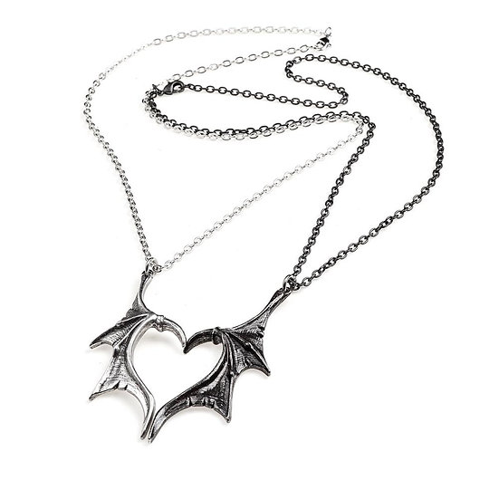 Black Swans Red Crystal Heart Necklace / Alchemy Gothic 1977 Pewter Heart Gift