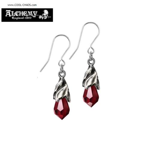 Tears from Heaven Pewter Earrings / Red Crystal Drop Earrings