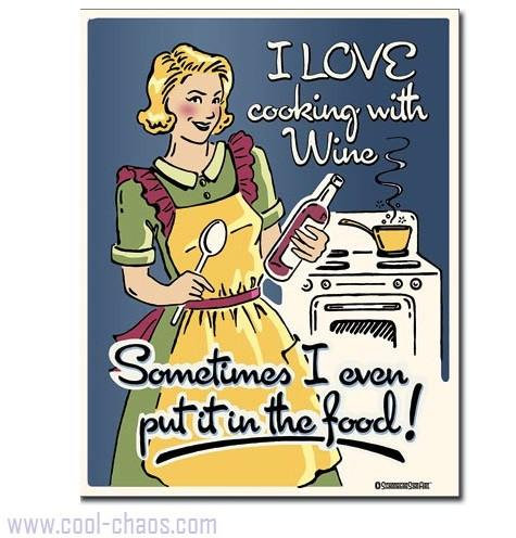 Retro-style Cooking with Wine Tin Sign
