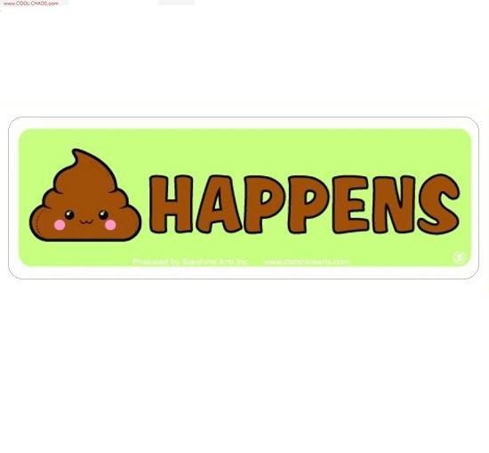 Poop Icon Shit Happens Mini Bumper Sticker