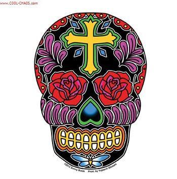 Cross Tattoo Rose Sugar Skull Sticker