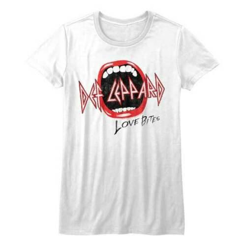 Def Leppard T-Shirt / LOVE BITES MOUTH 80's Retro Reissue Rock Junior Tee