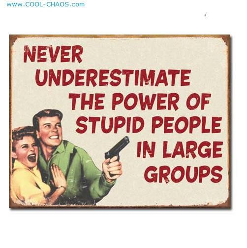 Never Underestimate the power of stupid people in large groups sign
