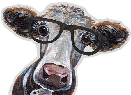Super cute Glasses Cow Tin Sign – 23 inches wide