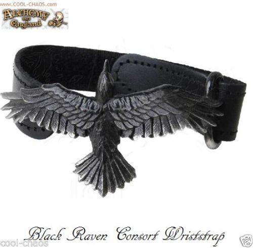 The Raven Bracelet / Black Leather Wriststrap / Alchemy Gothic 1977