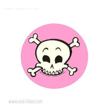 pink cartoon skull button