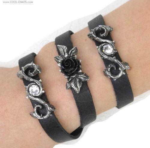 Black Rose Bracelet/Black Leather Wriststrap
