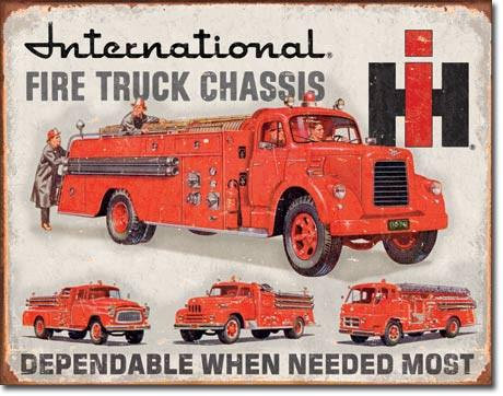 International Fire Trucks Fire Dept. Tin Sign