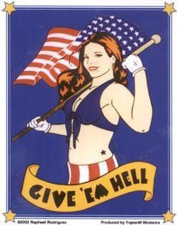 Give em Hell Retro Patriotic Pin-up Girl Sticker