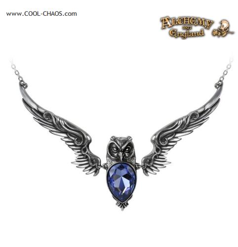 Pewter Owl Necklace / Mystic Owl, Purple Swarovski Crystal-Alchemy Gothic 1977