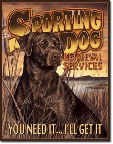 Chocolate Lab Sporting Dog / Hunting Tin Sign