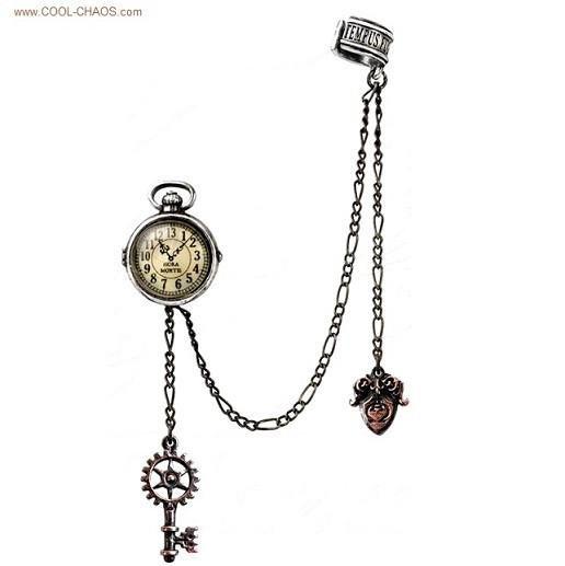 Miniature Pocket Watch Earring Steampunk Ear Cuff