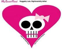 Pink Heart Skull Sticker