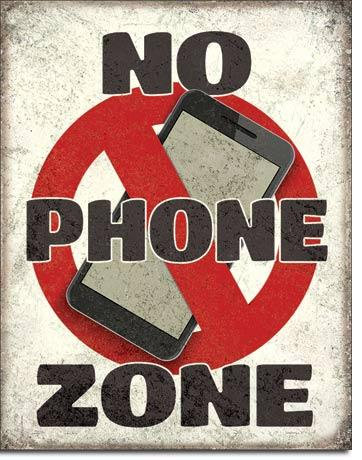 No Cell Phone Zone Tin Sign