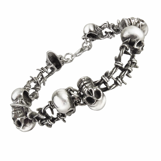 Pewter Barbwire Skull Bracelet / 7.5 In Alchemy Gothic 1977,Unisex Bracelet
