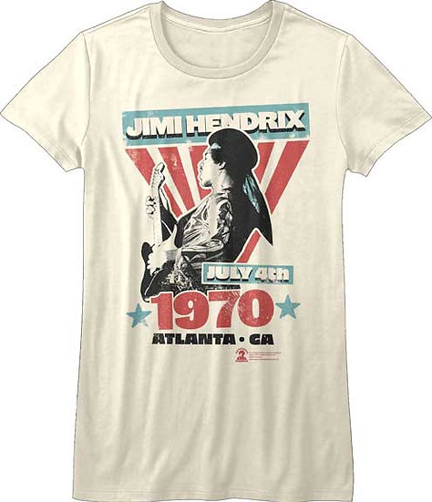Jimi Hendrix T-Shirt / Live 4th July Atlanta 1970 Hendrix Juniors Rock Tee