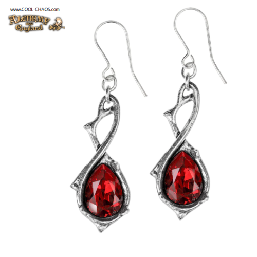 Red Crystal Passion Earrings, Pewter Thorn Drop Earrings