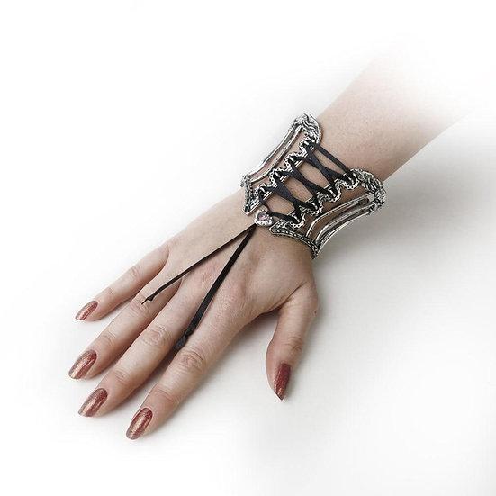Black Ribbon Laced Pewter Corset Bracelet