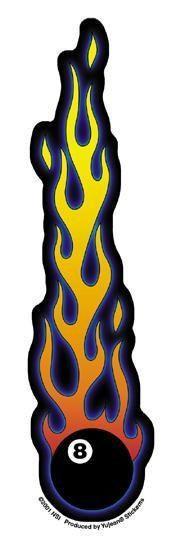 Flaming 8-Ball Sticker