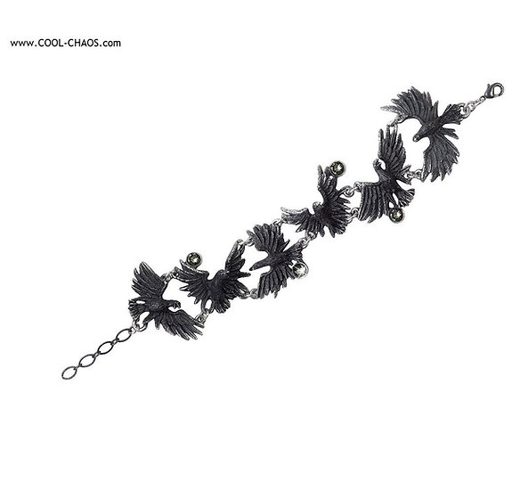Gorgeous Pewter Black Raven Bracelet - Flock of Ravens,Alchemy Gothic 1977