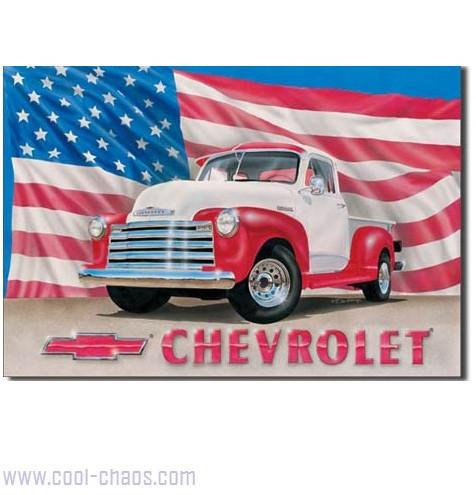 1951 Chevy Pickup American Flag Sign
