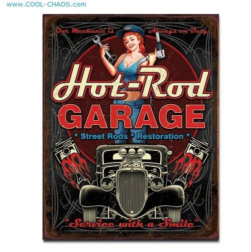 Mechanic on Duty Hot Rod Pin-up Sign