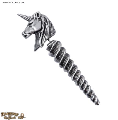 Unicorn Illusion Fake-Stretcher Pewter Unicorn Stud