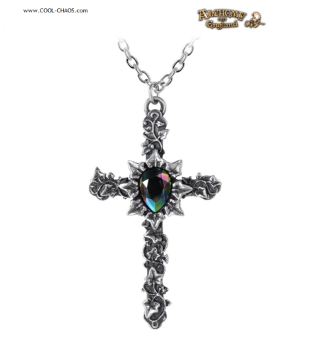 Pewter Cross Necklace / Antiqued Ivy Cross Pendant - Alchemy Gothic 1977