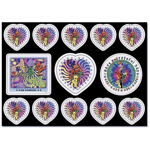 Grateful Dead Postcard stickers Set # 1 Grateful Hearts n Bears