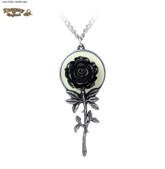 Luna Moon Black Rose Necklace / Pewter Jewelry Pendant,Rose,Moon