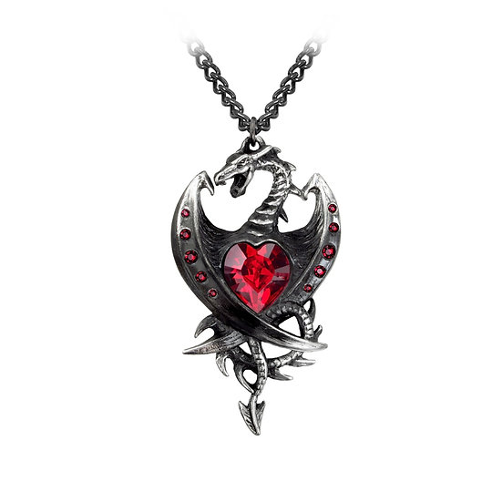 Pewter Dragons Red Crystal Heart Necklace