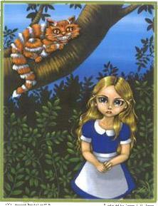 Alice Cheshire Cat Gothic Art Sticker