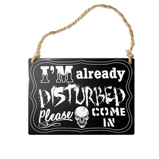 Already Disturbed' Skull Mini Door Sign