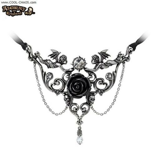 Ornate Skulls Devil Angels Gothic Black Rose Necklace by Alchemy Gothic
