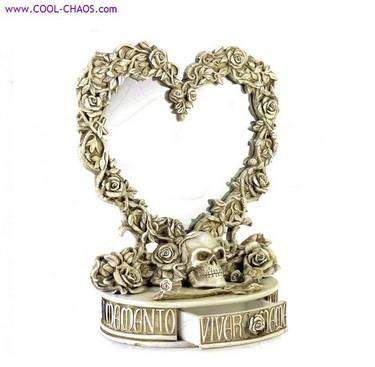 Skull and Roses Vanity Mirror Jewelry Box