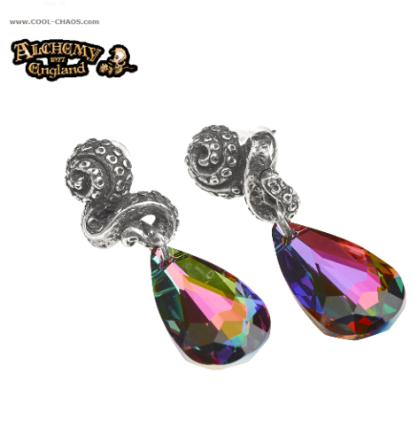 Mystical Kraken Volcano Effect Rainbow Crystal Earrings by Alchemy Gothic 1977