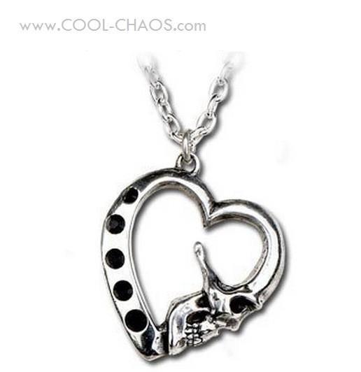 Noir Crystals Le Mort Skull Heart Necklace