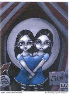 Two Head Girl Sideshow Act Sticker Gothic Art