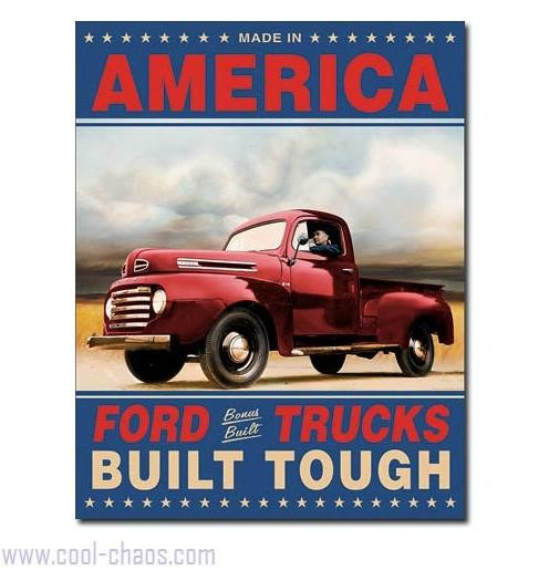 Ford Trucks Made in America Tin Sign