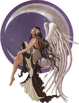 Crescent Moon Star Gazer Angel Sticker