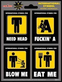 International Naughty Street Signs Stickers Set